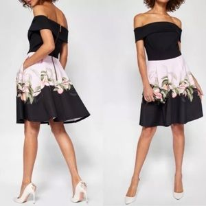 Ted Baker Bardot Peach Blossom Dress NWT 3 US 10 L